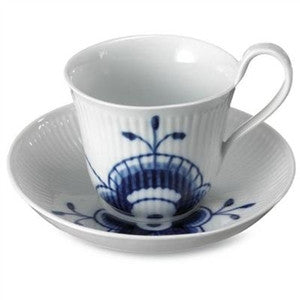 "Blue Fluted Mega Highhandled ""Mini"" Cup and Saucer - GDH 