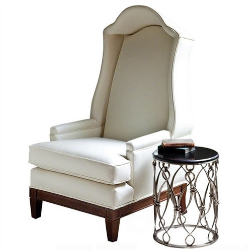 Global Views Bonnet Chair in Ivory Leather - GDH | The decorators department Store