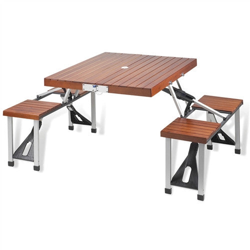 Folding Wooden Picnic Table with Seats - GDH | The decorators department Store