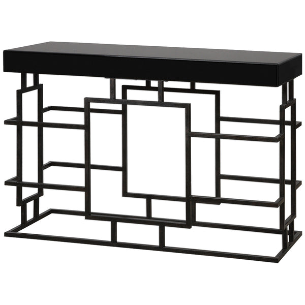 Andy Worn Black Console Table - GDH | The decorators department Store