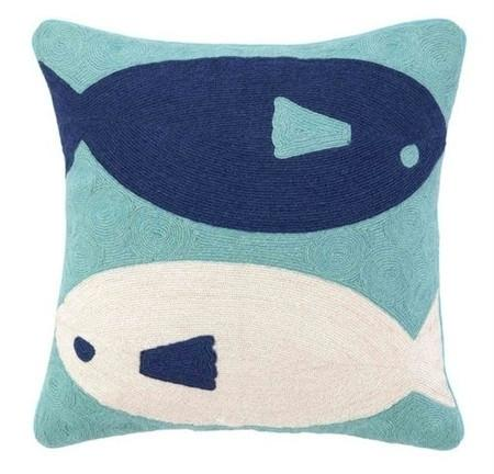 Blue - Fish Crewel Pillow - GDH | The decorators department Store