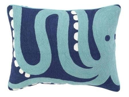Blue - Octopus Crewel Pillow - GDH | The decorators department Store