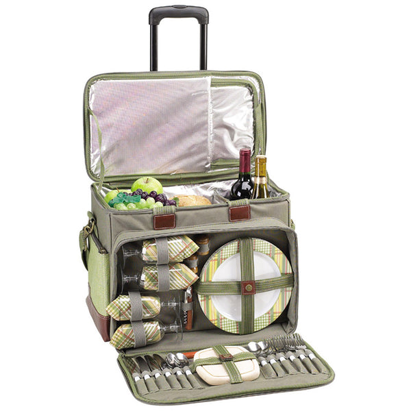 Deluxe Picnic Cooler for Four on Wheels | Hamptons Green - GDH | The decorators department Store