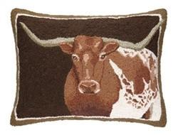 Brown- Longhorn Hook Pillow 16 x 22 - GDH | The decorators department Store