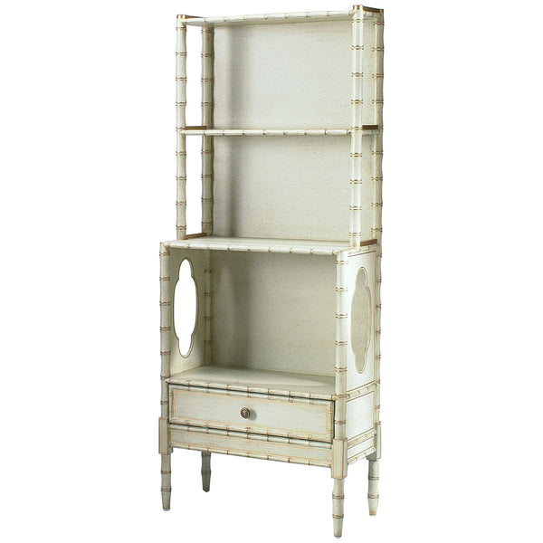 Chelsea House Bamboo Cream Painted Bookcase - GDH | The decorators department Store