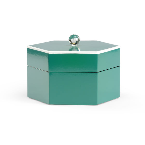 HAND DECORATED BOX WITH CRYSTAL FINIAL | TEAL