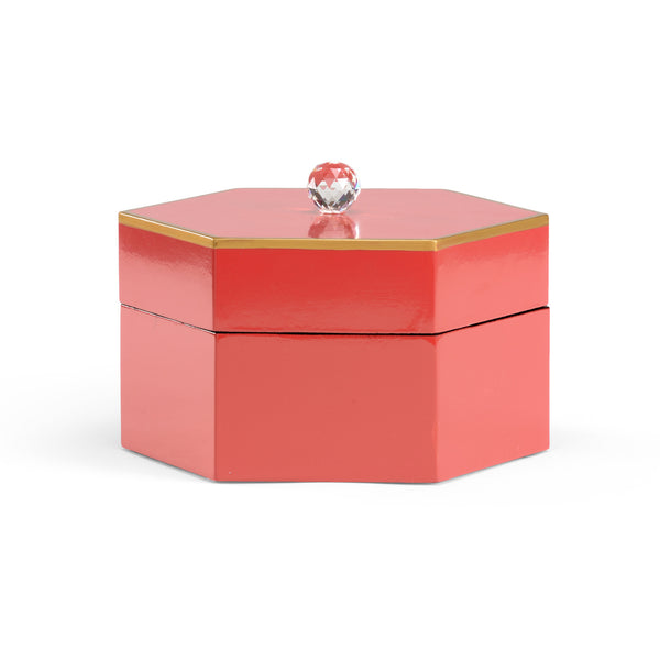 HAND DECORATED BOX WITH CRYSTAL FINIAL | RED