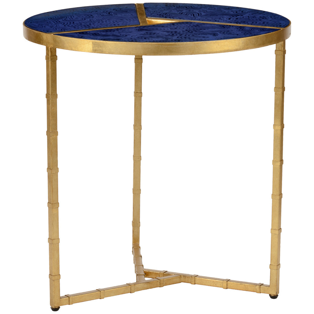Bradshaw Antique Gold Side Table Lapis - GDH | The decorators department Store