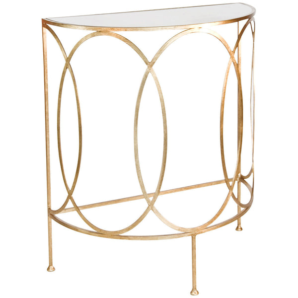 Antoine Ovals Console with Antique Mirror Top | Gold