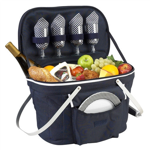 Collapsible Insulated Picnic Basket for Two | Navy - GDH | The decorators department Store