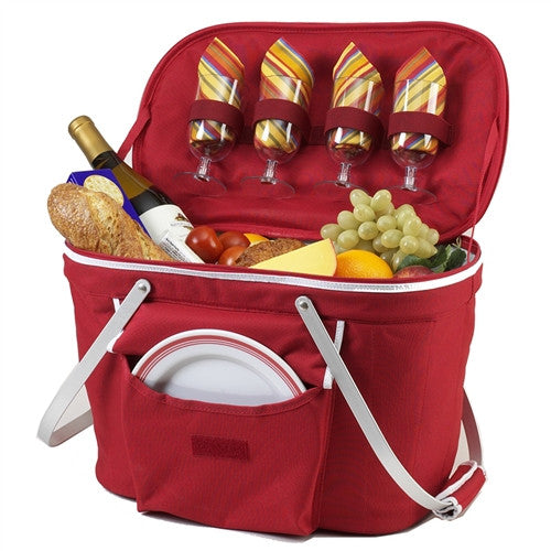 Collapsible Insulated Picnic Basket for Two | Red - GDH | The decorators department Store