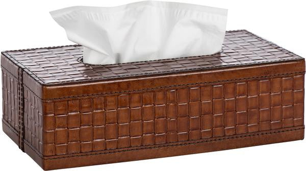 Woven Leather Tissue Box by Barclay Butera