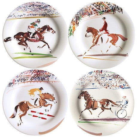 Gien Set of 4 Cavaliers Dessert Plates - GDH | The decorators department Store