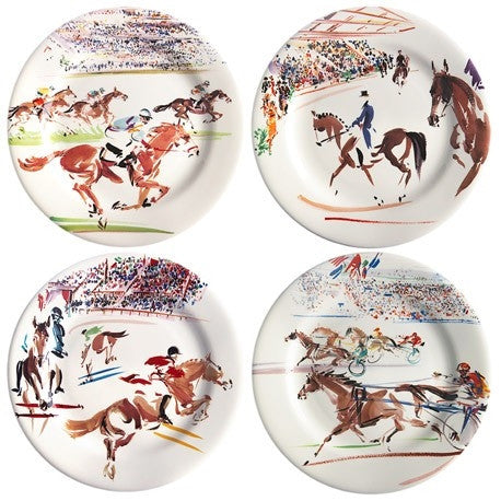 Gien | Set of 4 Cavaliers Canape Plates - GDH | The decorators department Store