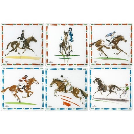 Gien Cavaliers Set of 6 Acrylic Coasters - GDH | The decorators department Store