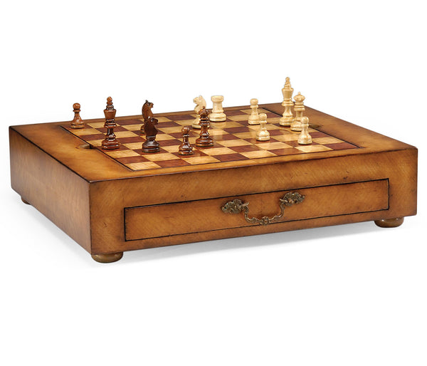 Satinwood games box with drawer