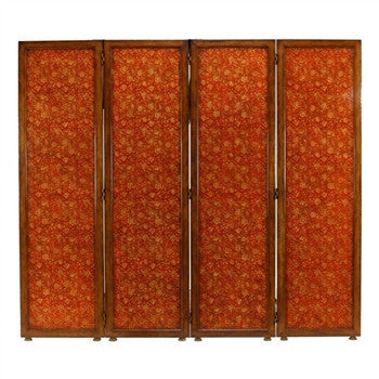 Red Chinoiserie Four Panel Floor Screen - GDH | The decorators department Store