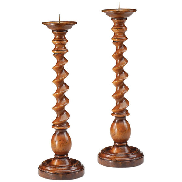 Pair Of Turned Twisted Column Candlesticks - GDH | The decorators department Store