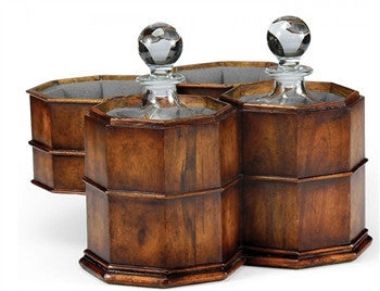 Decanters in  Octagonal Walnut Case - GDH | The decorators department Store