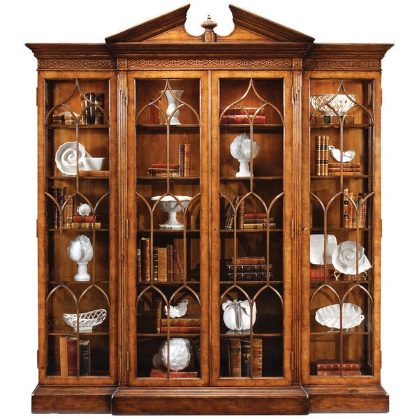 Jonathan Charles Walnut Breakfront Triple Display Cabinet - GDH | The decorators department Store