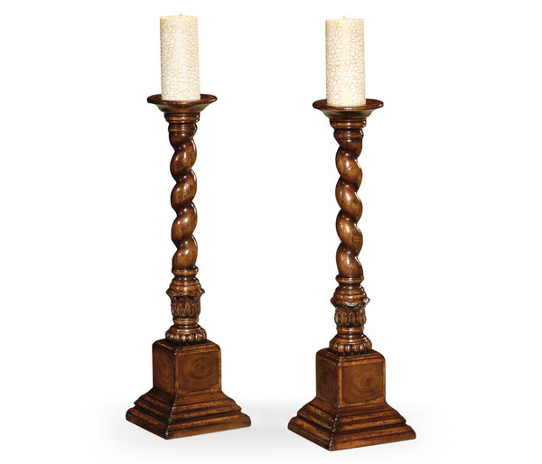 Pair of oyster candlesticks