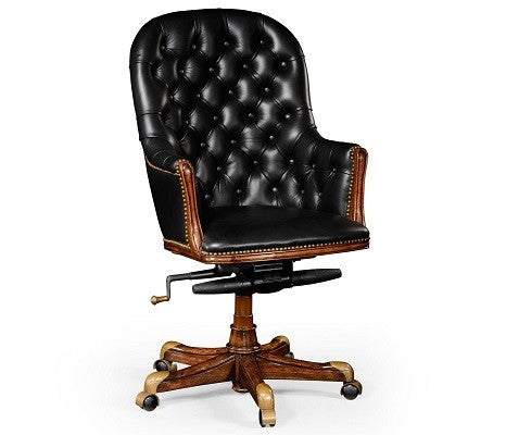 Buttoned Black Leather Desk Chair | High Back - GDH | The decorators department Store
