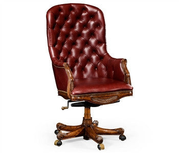 Buttoned red leather desk chair (High back) - GDH | The decorators department Store
