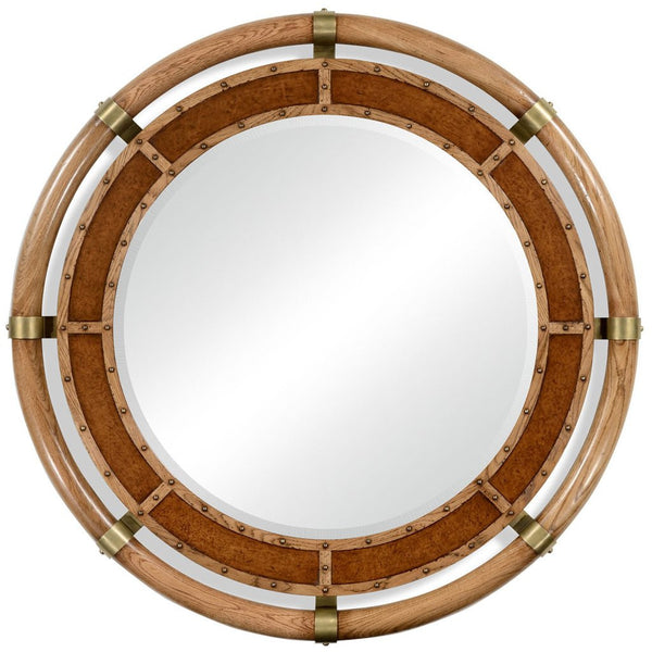 Circular Nautical Style Oak and Leather Mirror - GDH | The decorators department Store