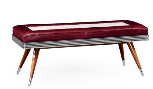 Fifties Americana Leather Bench - GDH | The decorators department Store