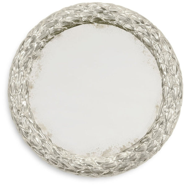 "Carved and Gilded 20"" Round Wall Mirror 