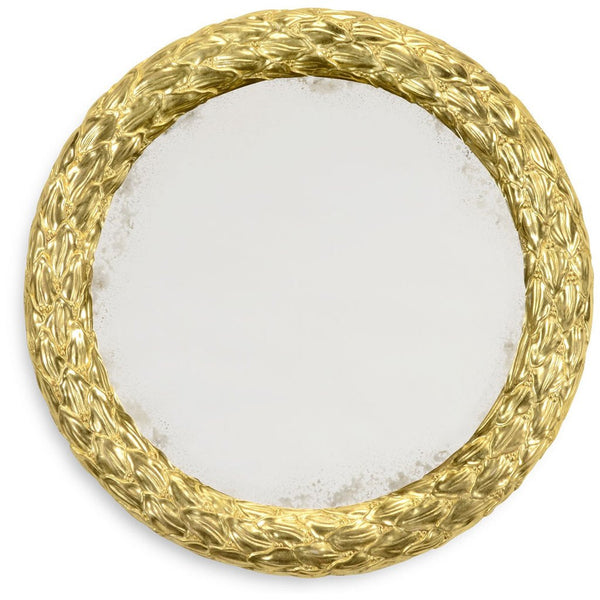 "Carved and Gilded 20"" Round Wall Mirror - GDH 