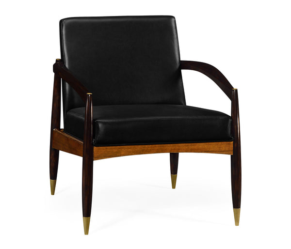 Contemporary occasional chair upholstered in black leather