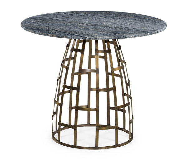 Breakfast table with geometric antique brass base - GDH | The decorators department Store