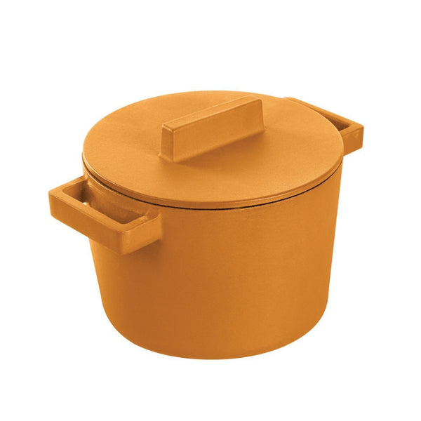 Terra Cotto Cast Iron Saucepot With Lid 6.25in | Vanilla - GDH | The decorators department Store