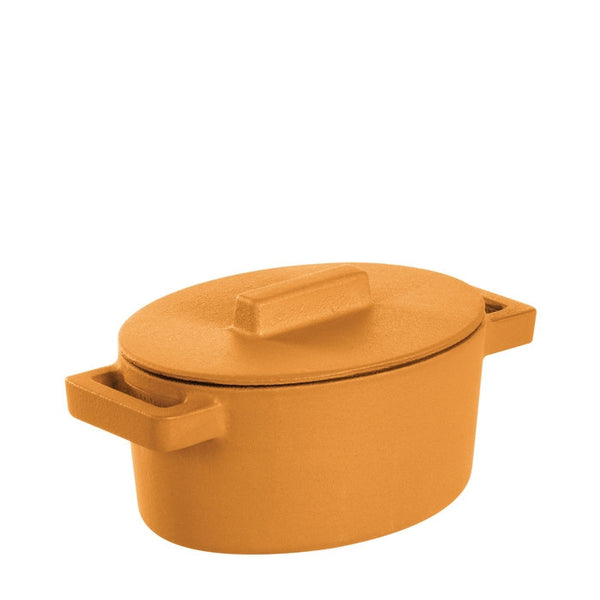 Terra Cotto Cast Iron Oval Casserole with Lid | Vanilla - GDH | The decorators department Store - 1