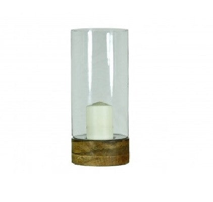 Wooden base pillar candleholder with glass, Large - GDH | The decorators department Store