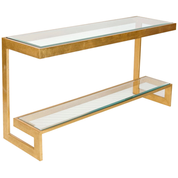 2 Tier Low Console with Beveled Glass Shelves | Gold