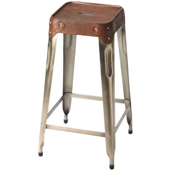 Connor Iron & Leather Barstool