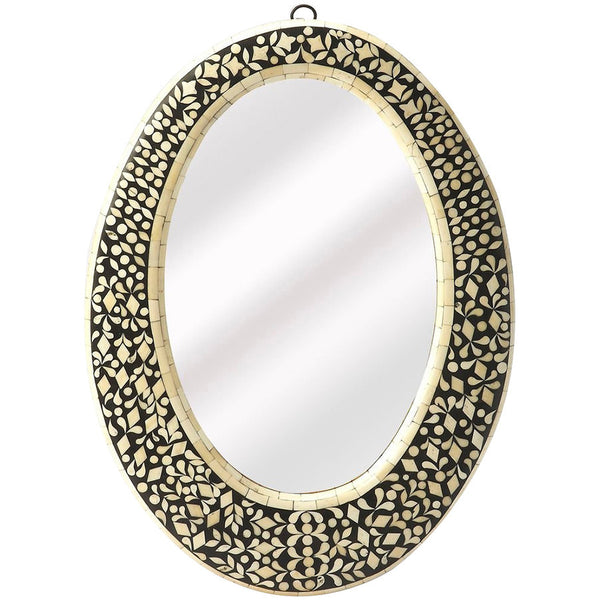Orzo Black Bone Inlay Oval Wall Mirror