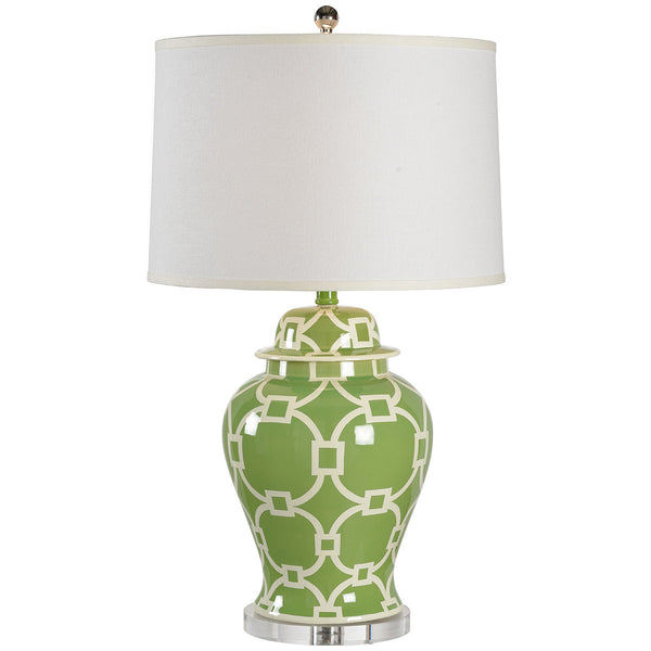 Chelsea House Temple Jar In Chains Table Lamp | Green