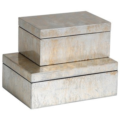 Champagne Silver Leaf Boxes - GDH | The decorators department Store