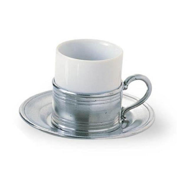 Match Pewter Espresso Cup w/Pewter Saucer