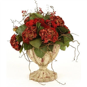 Silk Brick-Red Hydrangeas, - GDH | The decorators department Store