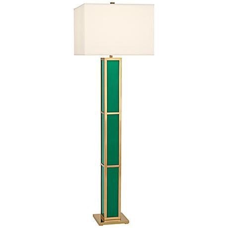 Barcelona Black Opaque Acrylic & Polished Brass Floor Lamp | Emerald