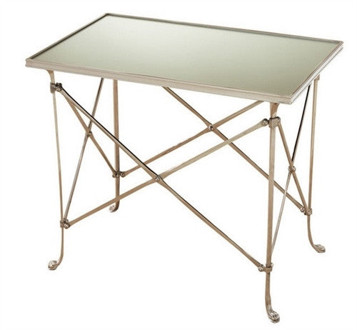 Rectangular Directoire Table - Nickel and Mirror - GDH | The decorators department Store