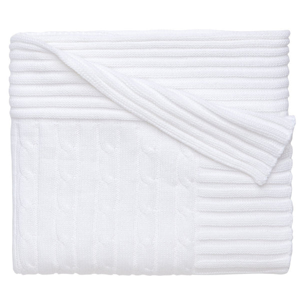 Classic Cotton Cable Knit Blanket (White) - GDH | The decorators department Store
