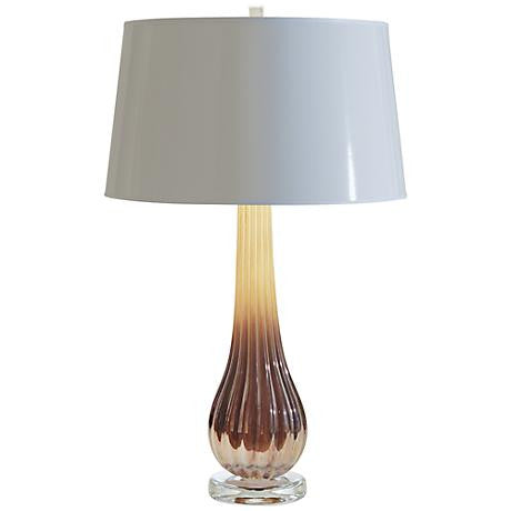 Amber Ribbed Art Glass Table Lamp