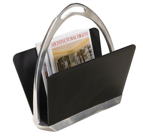 Black Leather Stirrup Magazine Dump - GDH | The decorators department Store