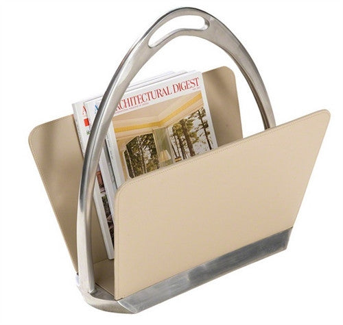 Beige Leather Stirrup Magazine Dump - GDH | The decorators department Store
