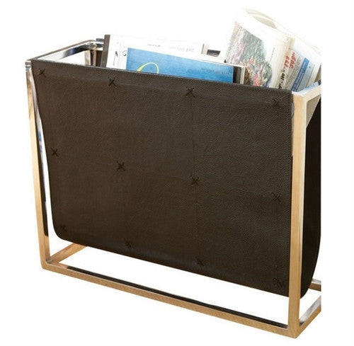 Global Views Magazine Caddy-Black Leather - GDH | The decorators department Store